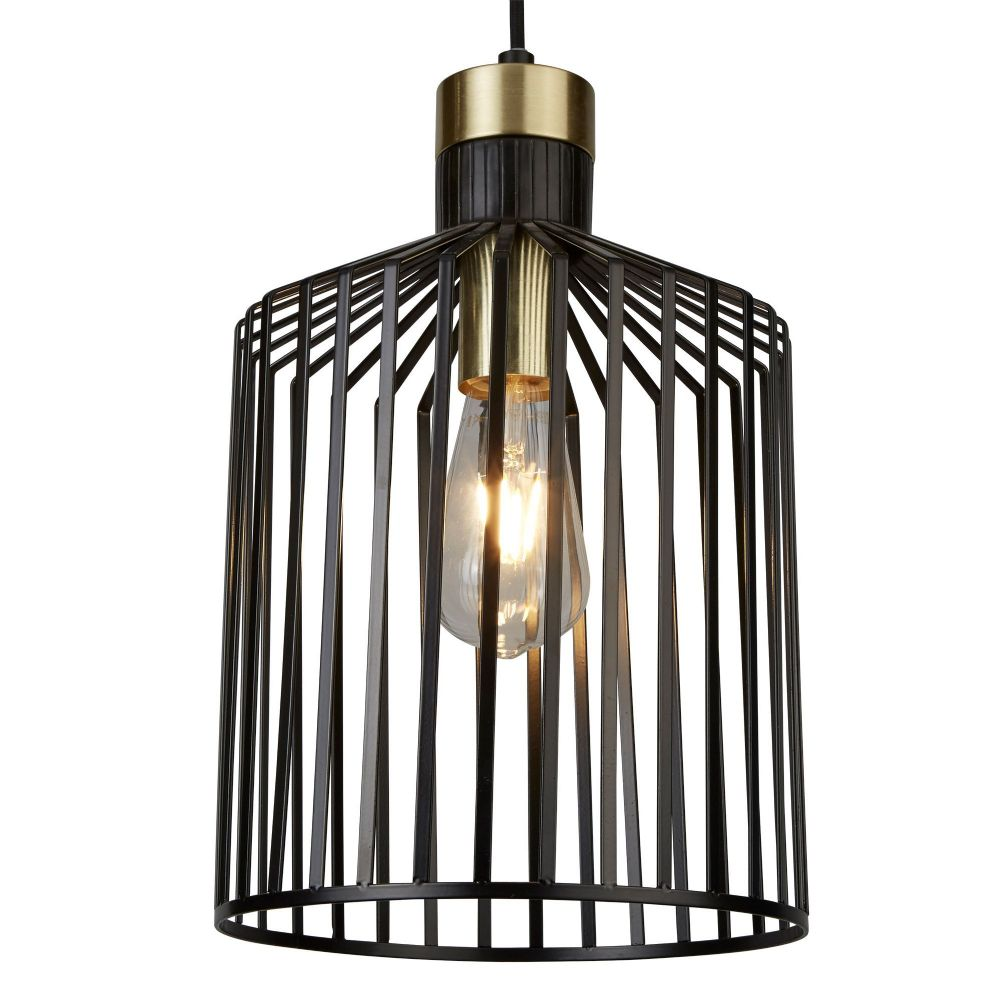 Bird Cage 1 Light Pendant, Black And Gold 9413Bk